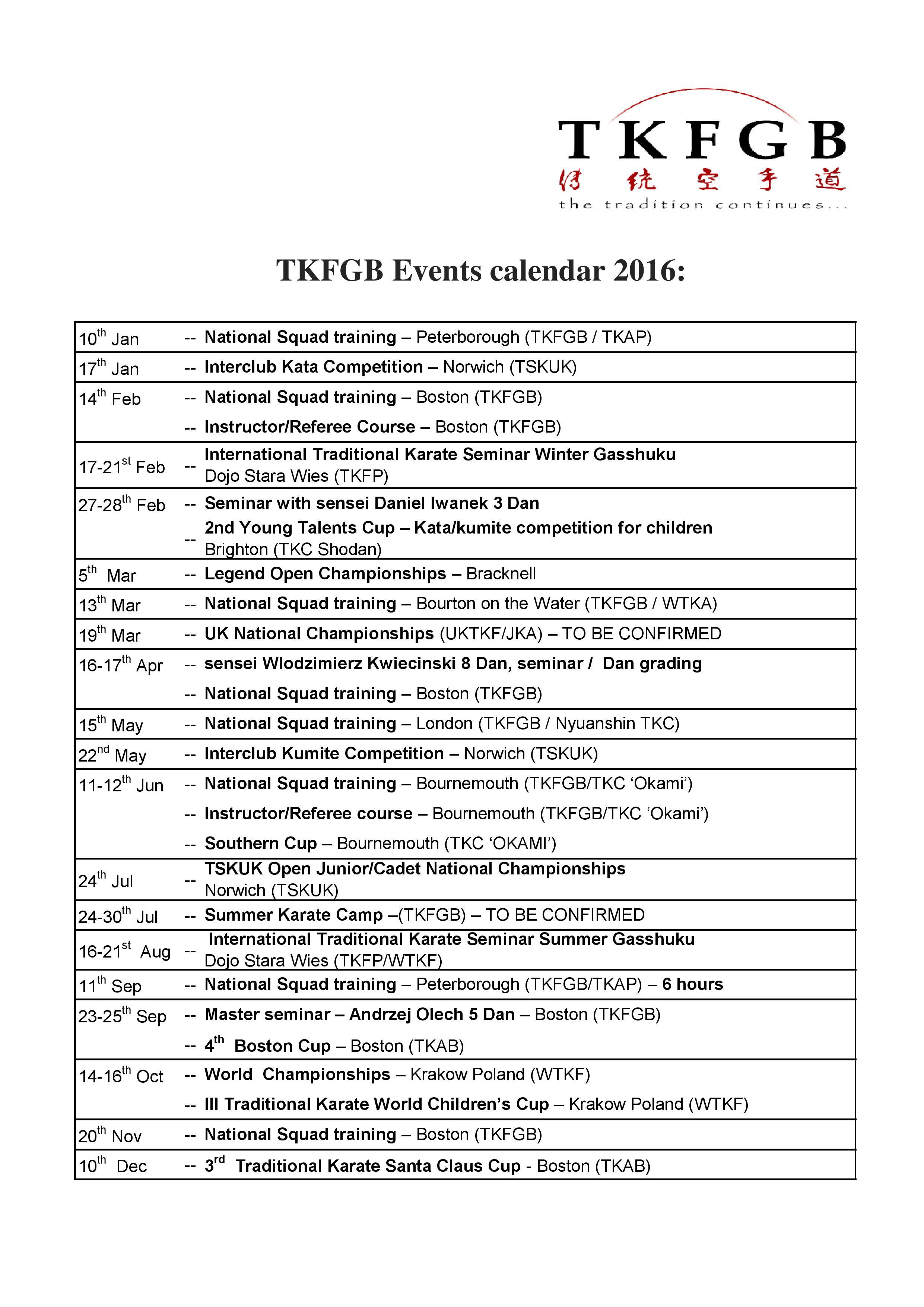 TKFGB Events Calendar 2016